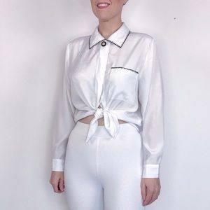 Vintage white with black contrast stitching blouse
